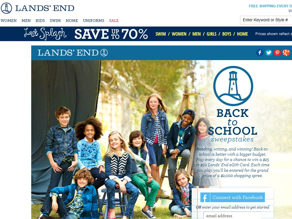 Lands' End Back To School Sweepstakes