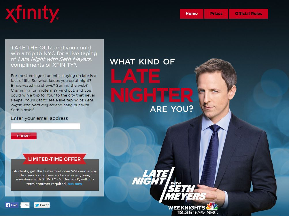 The XFINITY Late Night with Seth Meyers Sweepstakes