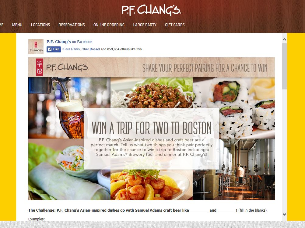 P.F. Chang's China Bistro, Inc. Perfect Pairings Contest