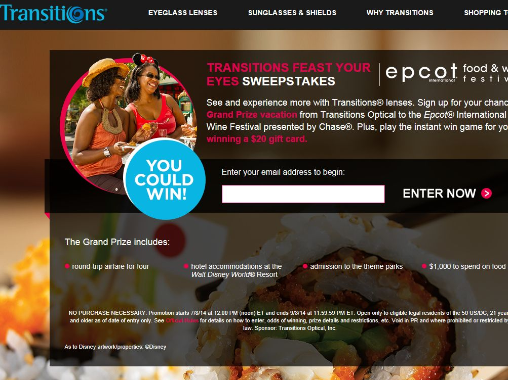 Transitions Feast Your Eyes Sweepstakes
