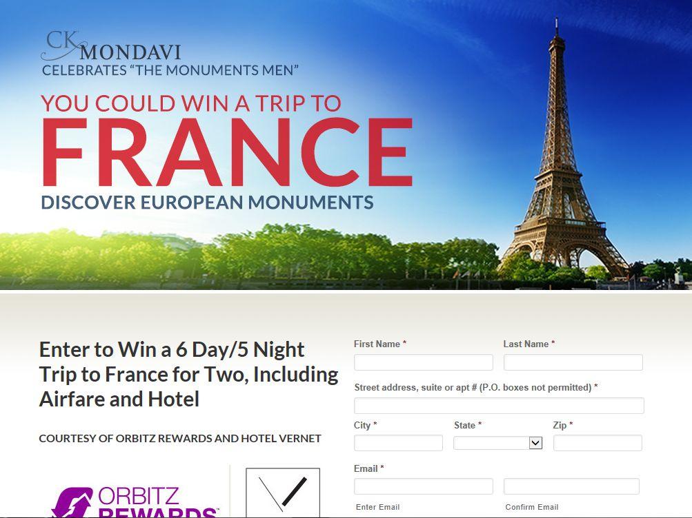 """CK Mondavi """"Discover European Monuments"""" Sweepstakes"""