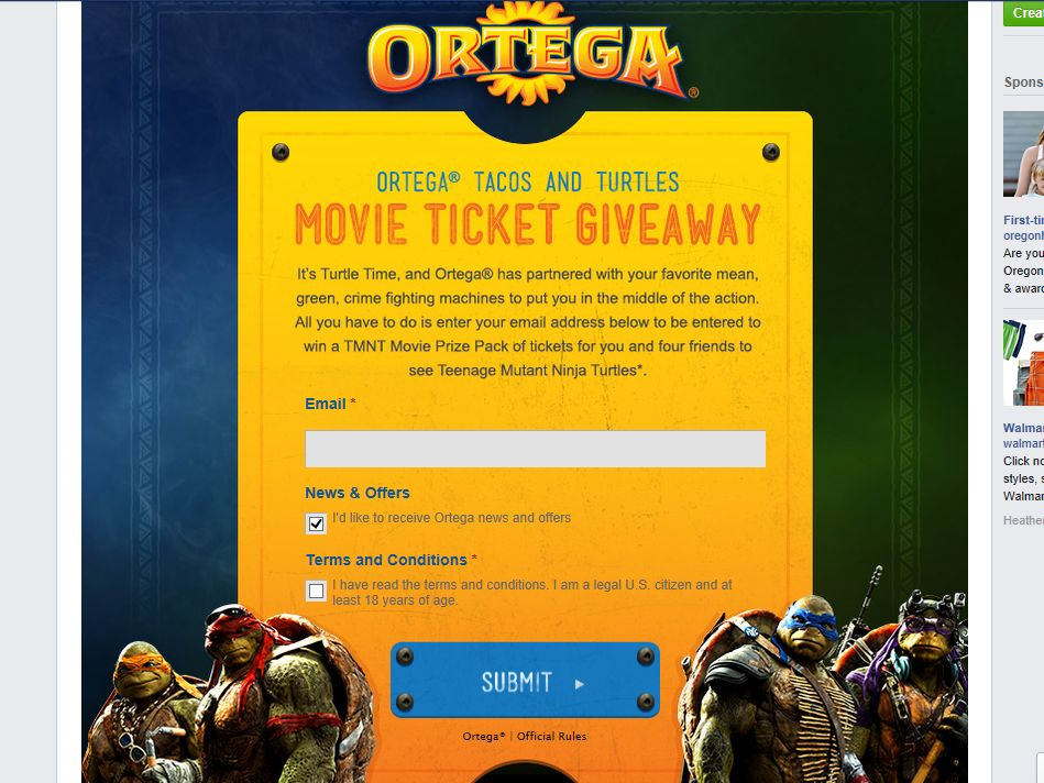 Ortega Tacos and Turtles Movie Ticket Giveaway