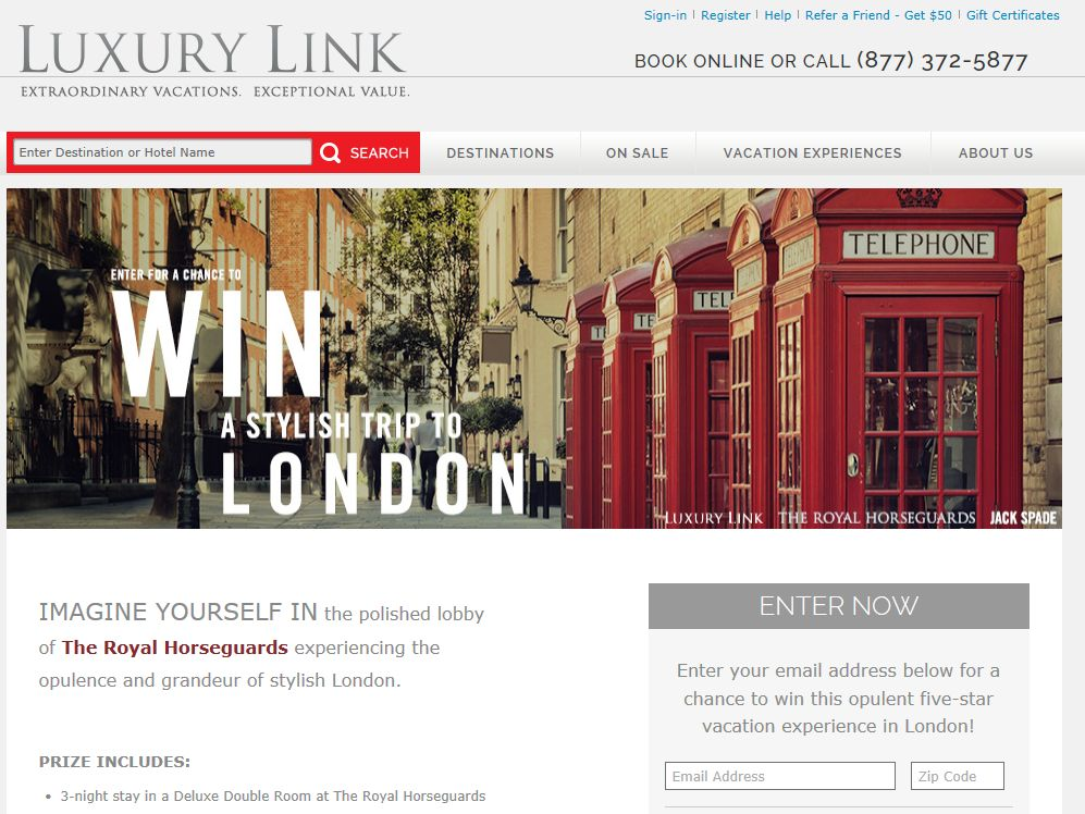 """LUXURY LINK, LLC and JACK SPADE """"Win a Stylish Trip to London"""" Sweepstakes"""
