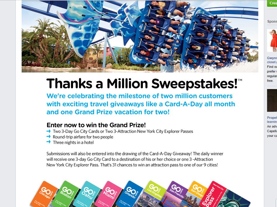 Smart Destinations Thanks a Million Sweepstakes