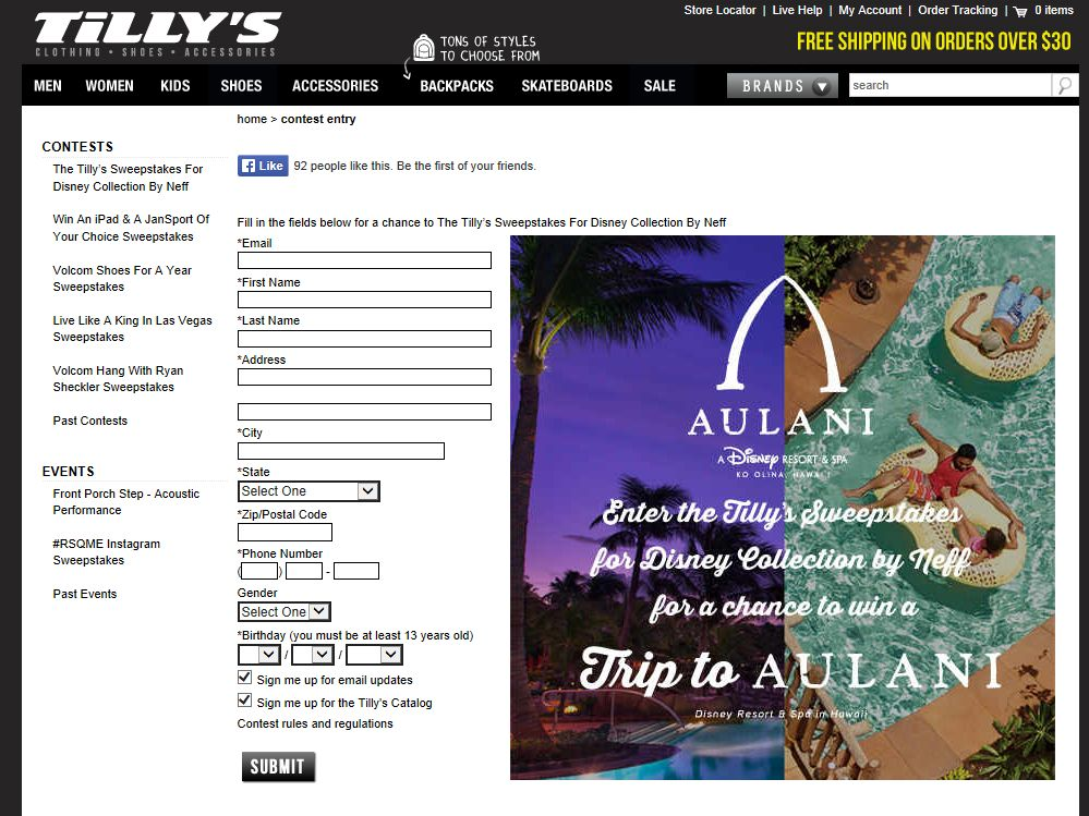 Tilly's For Disney Collection By Neff Sweepstakes