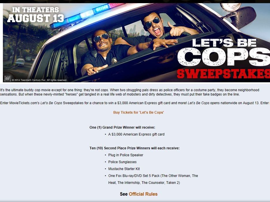 "MovieTickets.com ""Let's Be Cops"" Sweepstakes"