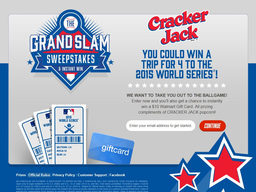 Cracker Jack Grand Slam Sweepstakes