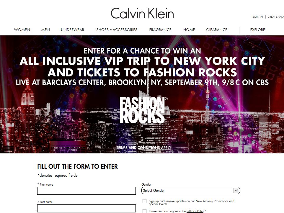 Fashion Rocks Calvin Klein Sweepstakes