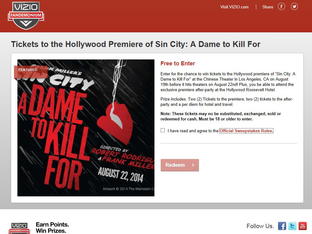 VIZIO 'Sin City 2' Movie Premiere Sweepstakes