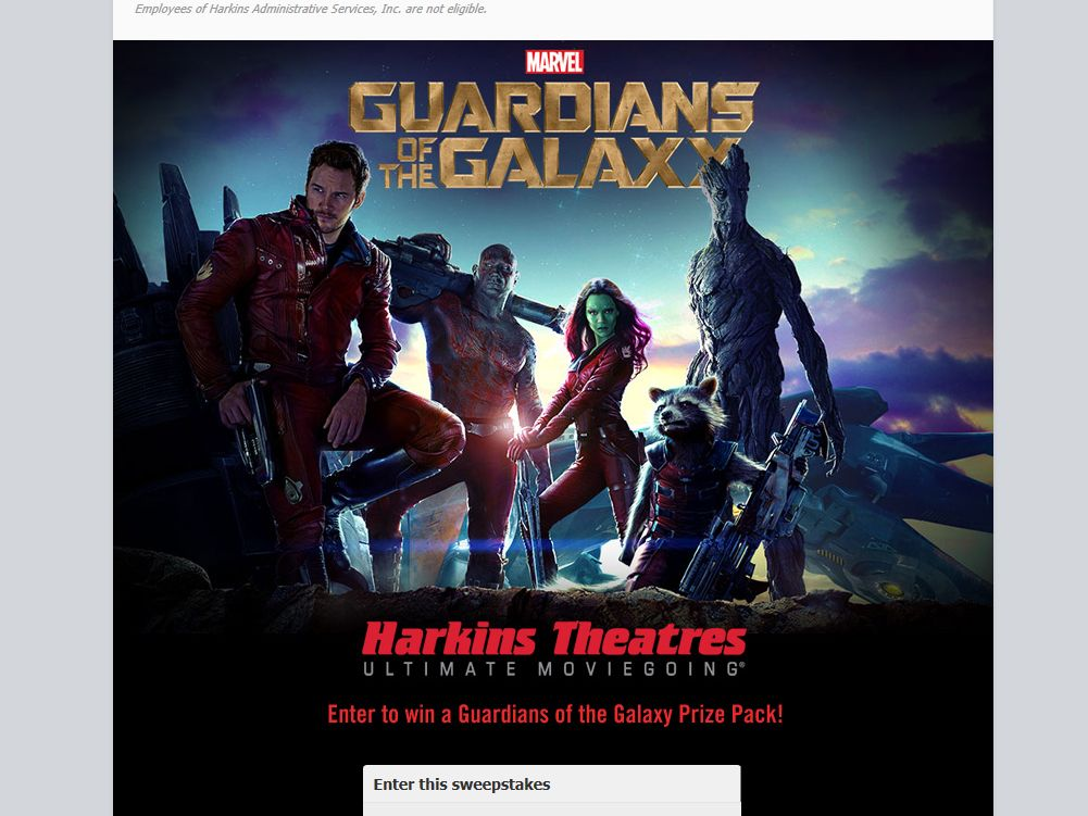Harkins Administrative Services, Inc. Guardians of the Galaxy Giveaway Sweepstakes