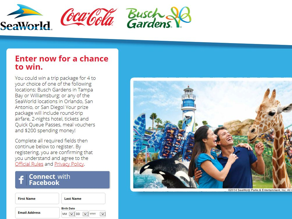 SeaWorld or Busch Gardens Refreshing Getaway