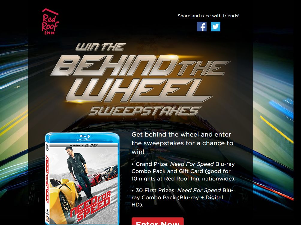 """Red Roof Inn """"Behind the Wheel"""" Sweepstakes"""