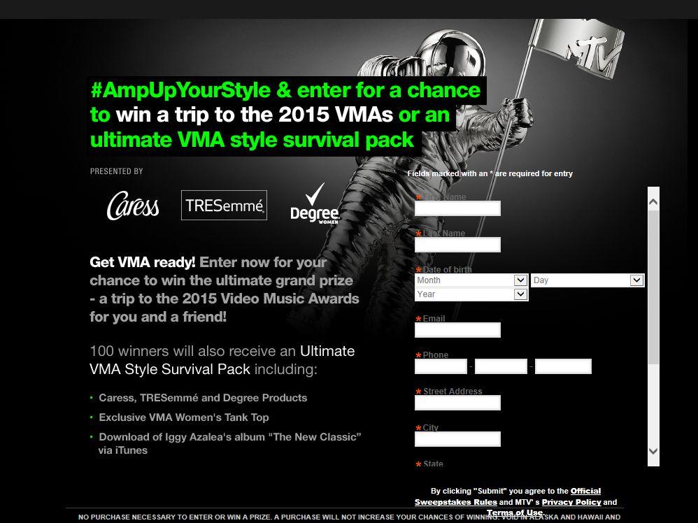 MTV's 2014 VMA Sweepstakes