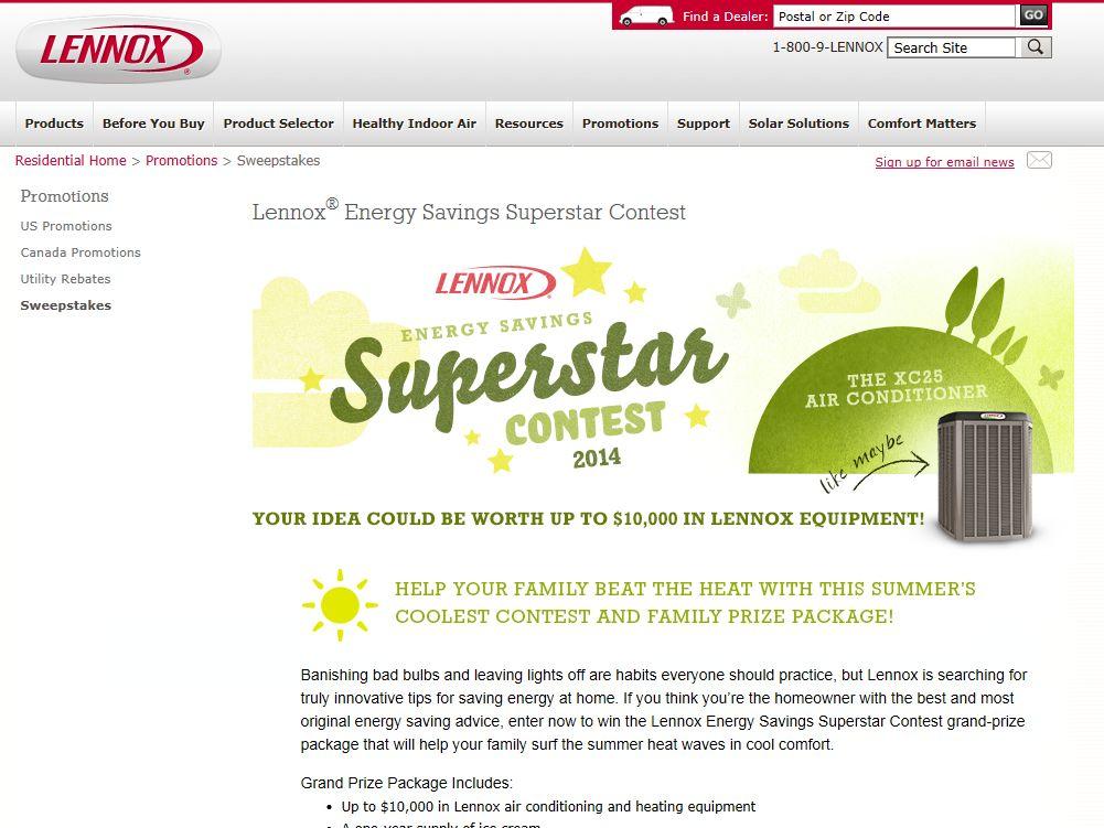 2014 Lennox Energy Savings Superstar Contest