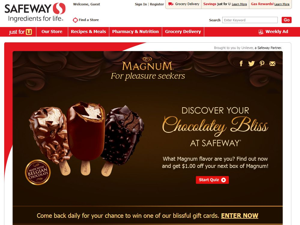 Magnum Discover Your Chocolatey Bliss Sweepstakes