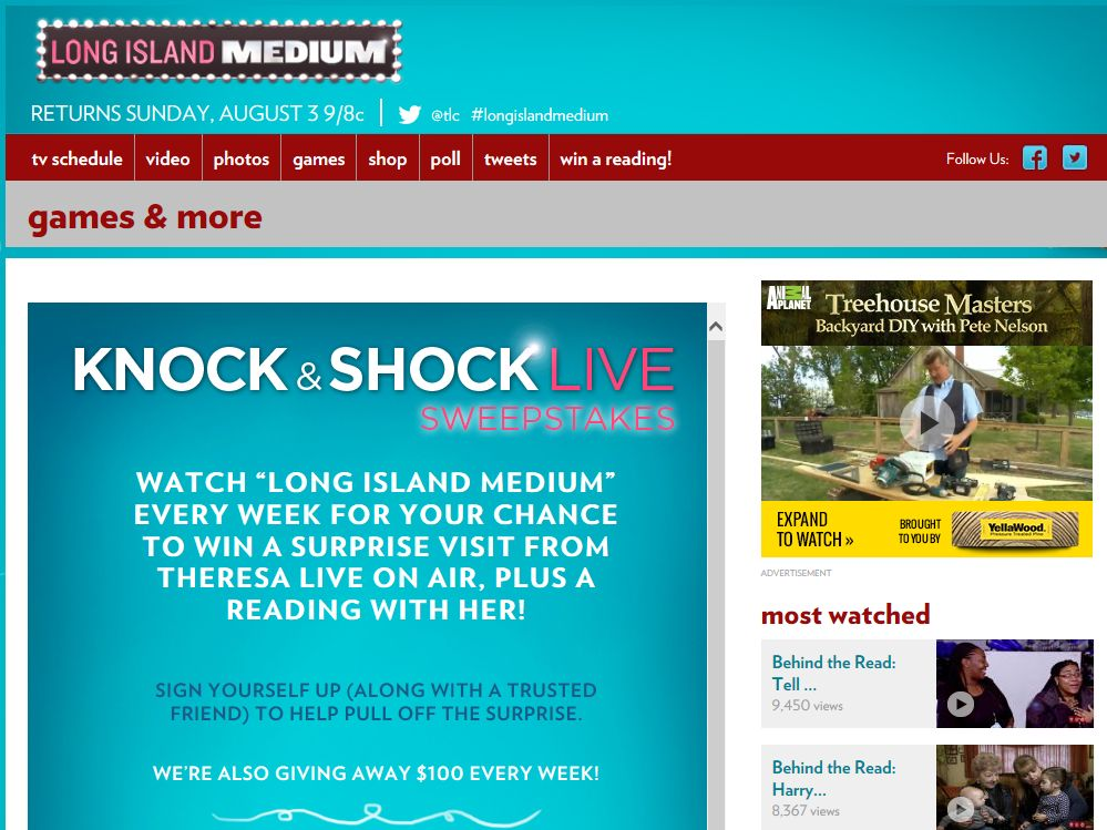 "The Long Island Medium ""Knock & Shock Live"" Sweepstakes"