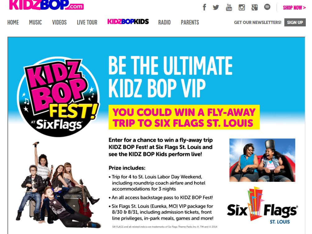 The KIDZ BOP FEST! AT SIX FLAGS Sweepstakes
