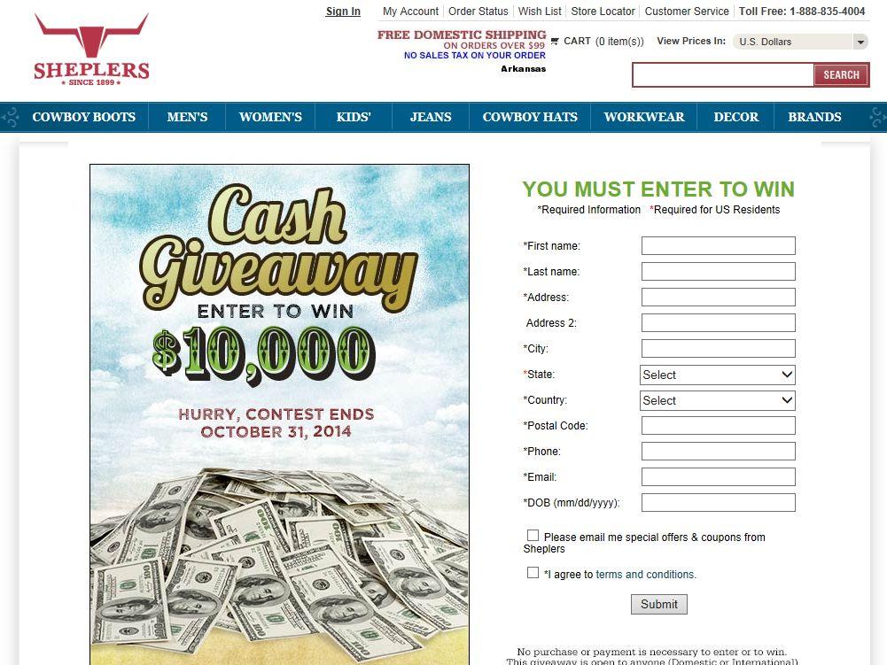 Sheplers $10,000 Fall Cash Giveaway