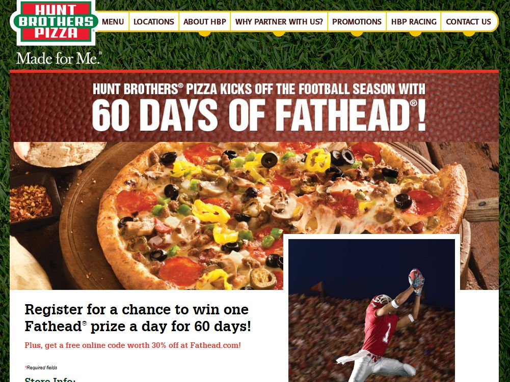"Hunt Brothers Pizza ""60 Days of Fathead"" Sweepstakes"