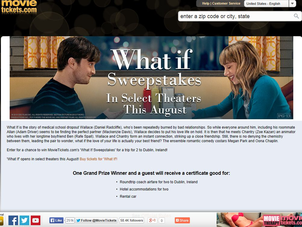 """MovieTickets.com """"What If"""" Sweepstakes"""