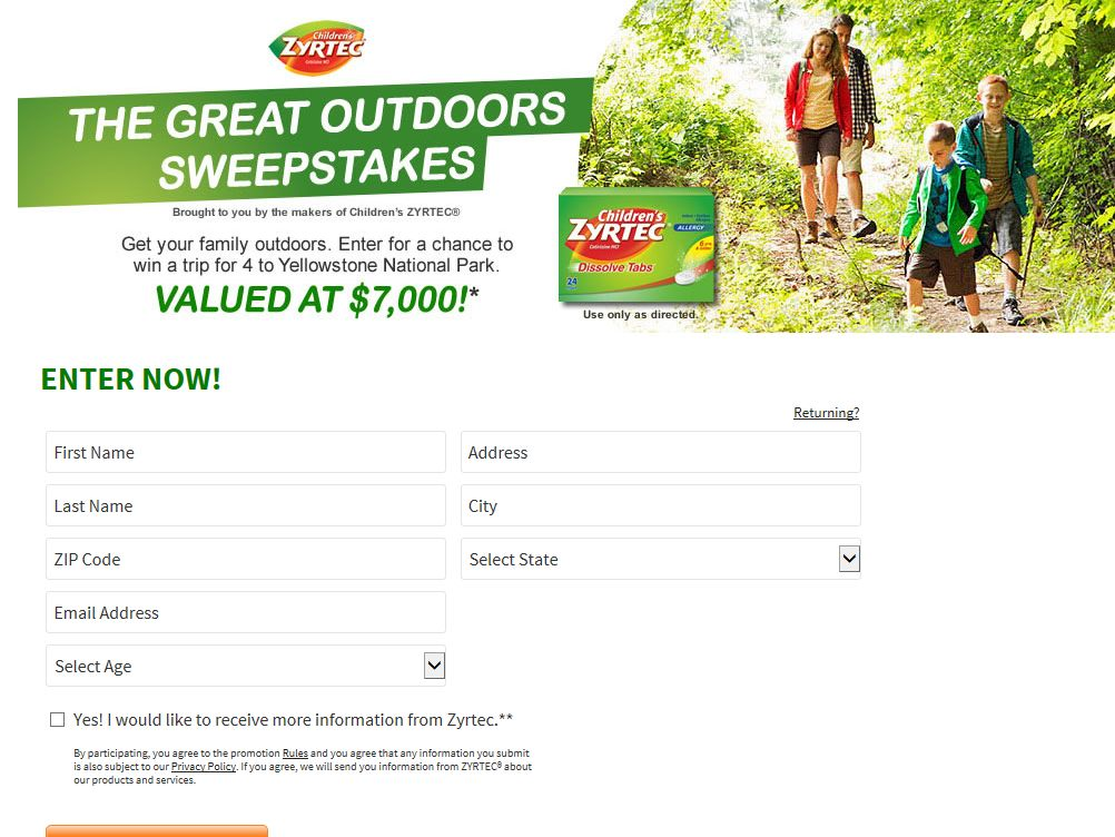 Children's ZYRTEC Great Outdoors Sweepstakes