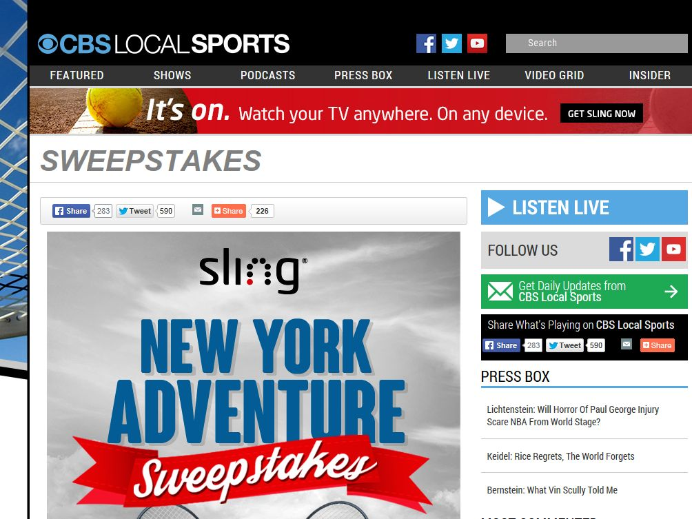 The Sling Trip to New York Sweepstakes