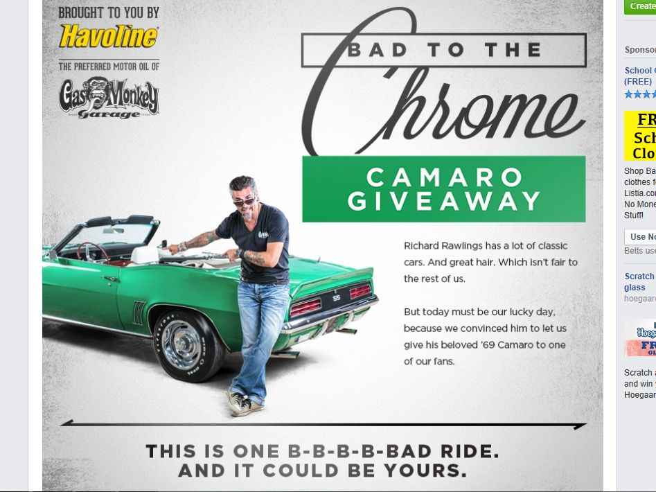 Havoline The Bad to the Chrome Camaro Giveaway