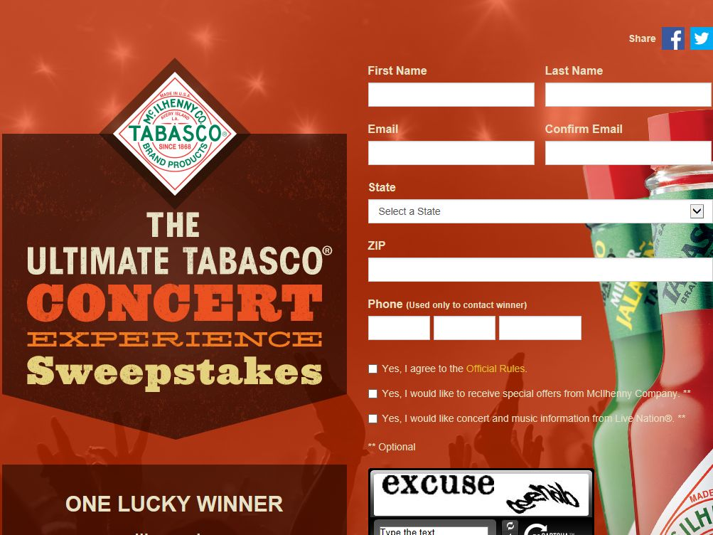 Ultimate TABASCO Concert Experience Sweepstakes