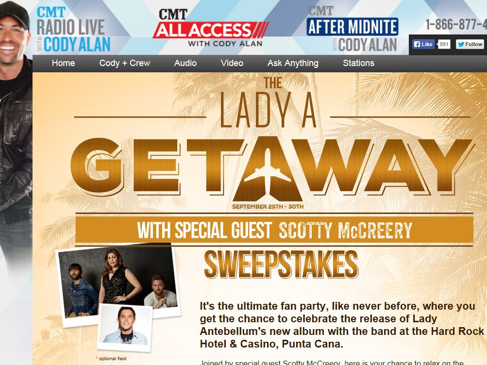 The Lady A Getaway with Special Guest Scotty McCreery Sweepstakes