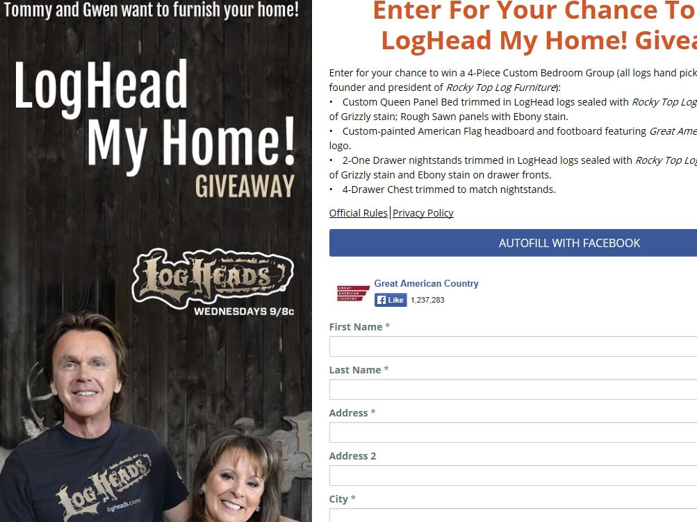 LogHead My Home! Sweepstakes