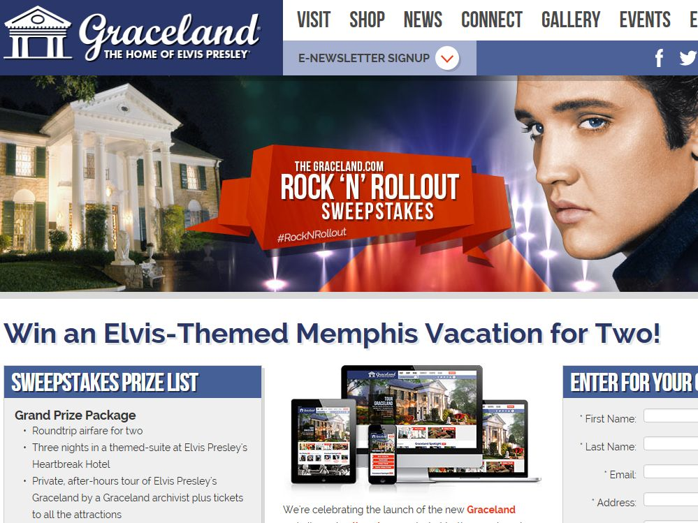 Graceland.com Rock 'N' Rollout Sweepstakes