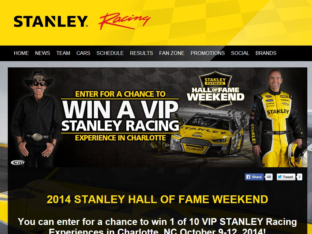 This Stanley Black & Decker 2014 Hall of Fame Weekend Sweepstakes