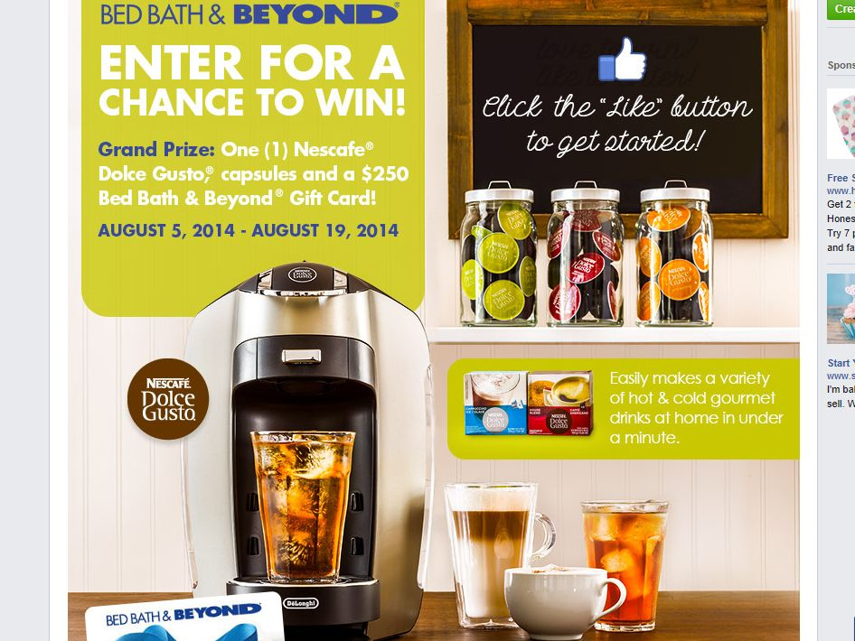 Bed Bath & Beyond Win a Nescafe Dolce Gusto Esperta Sweepstakes