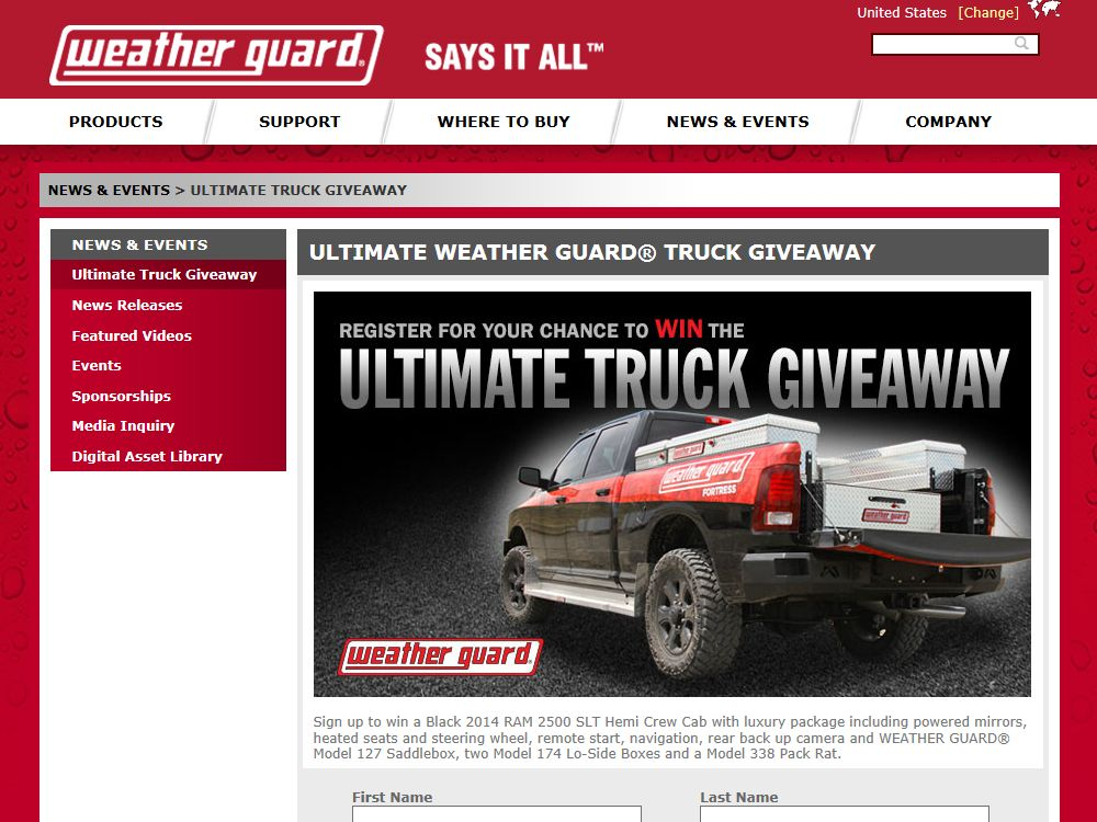 2014 WEATHER GUARD Fortress Ultimate Truck Sweepstakes