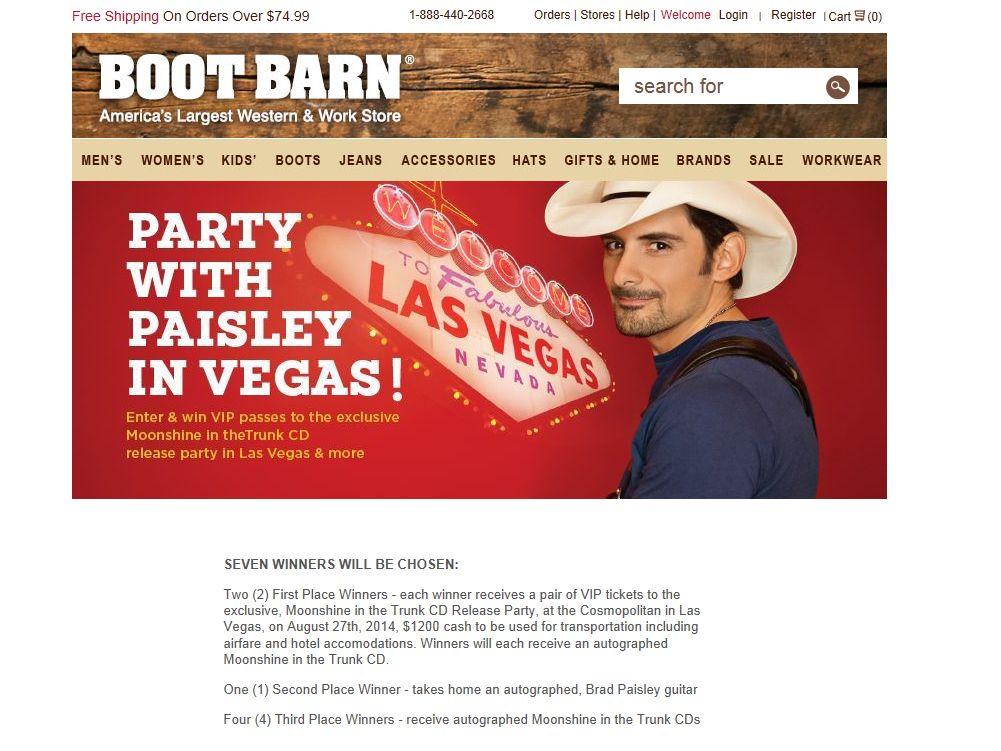 Boot Barn Brad Paisley Flyaway Sweepstakes