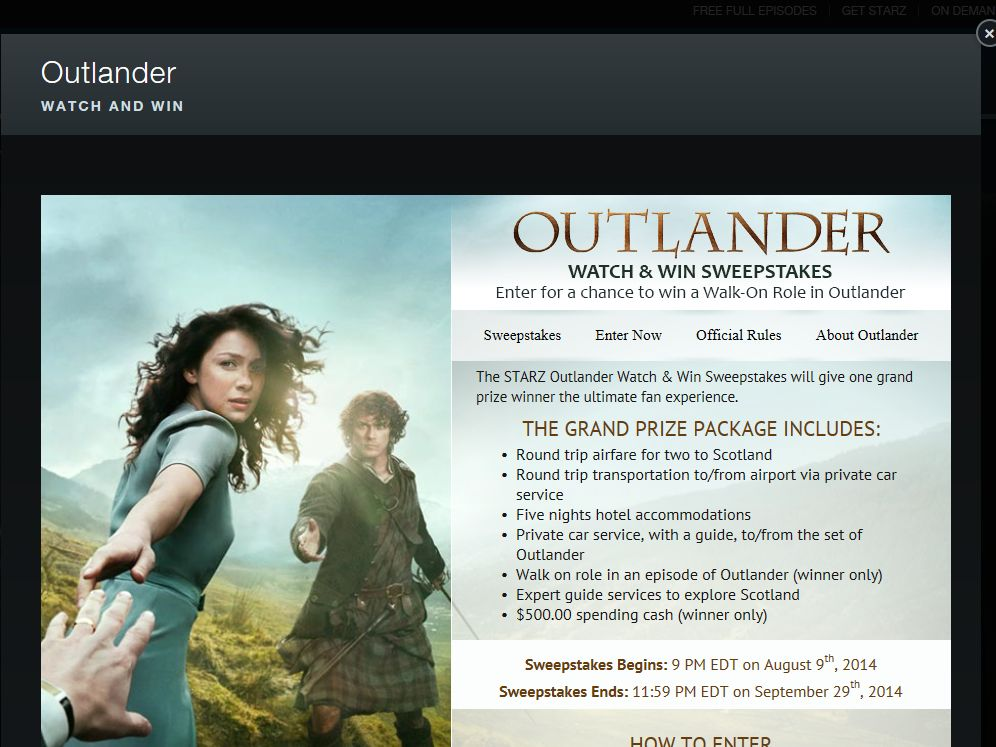 Outlander Watch & Win Sweepstakes