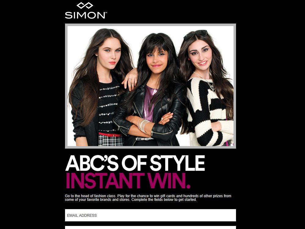 Simon ABC's of Style Instant Win Sweepstakes