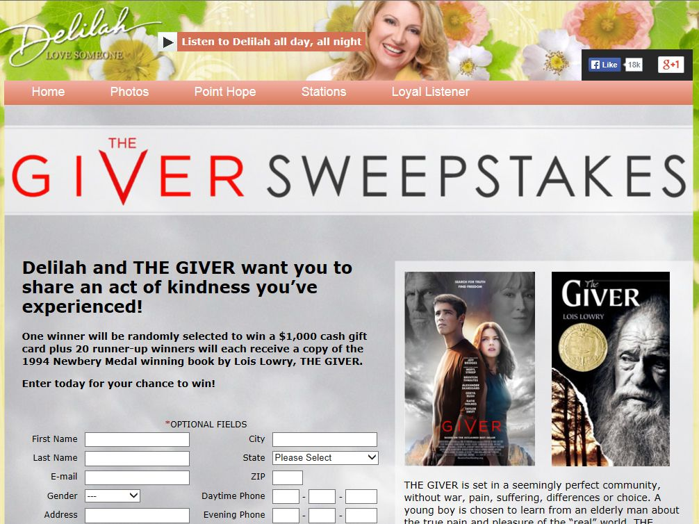 Delilah's The Giver Sweepstakes