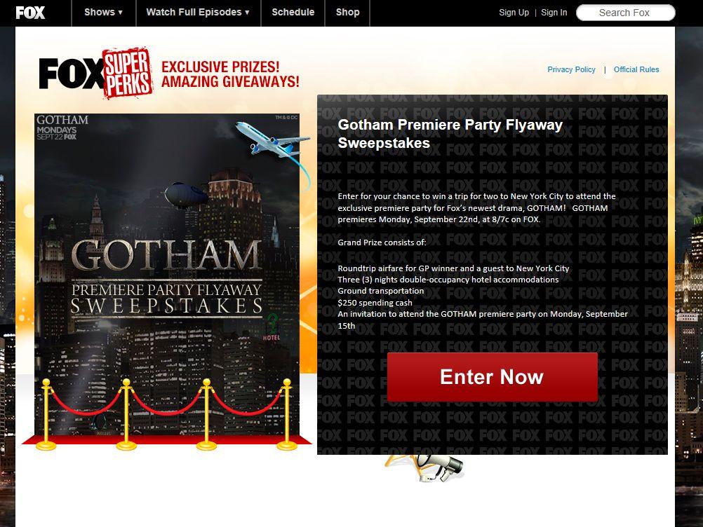 FOX Gotham Premiere Party Flyaway Sweepstakes