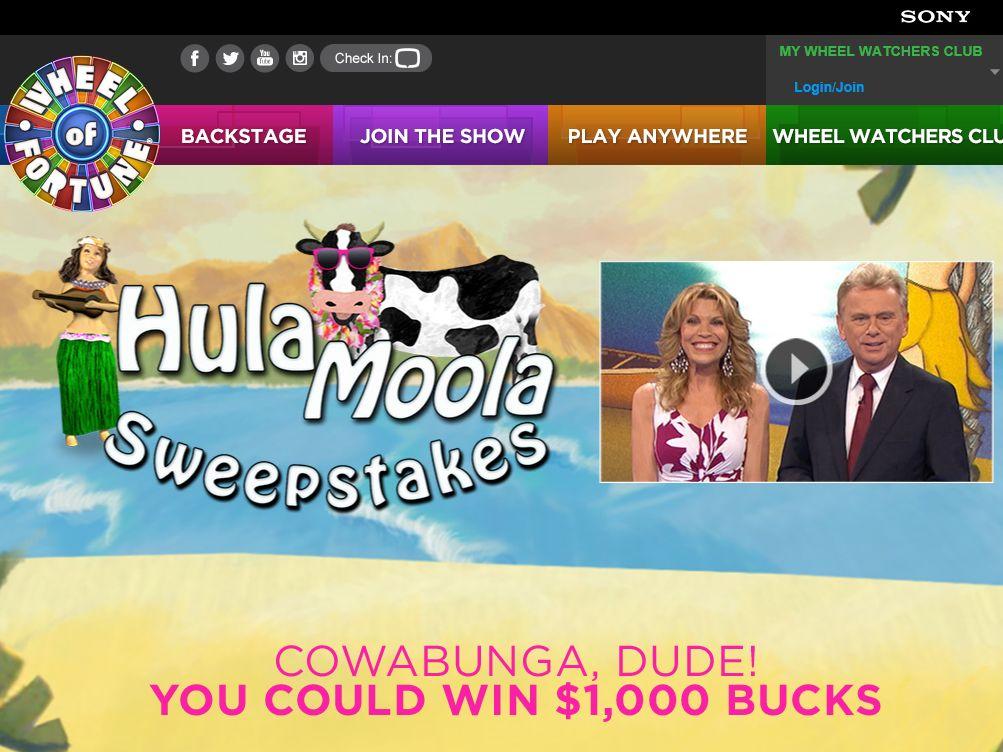 Wheel of Fortune Hula Moola Sweepstakes