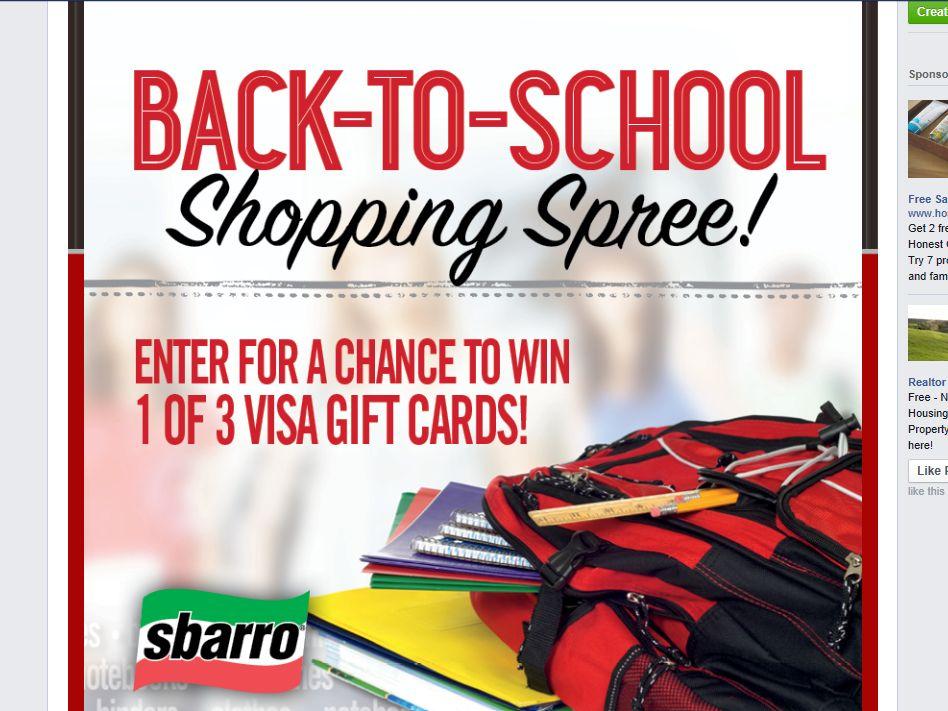 Sbarro Back to School Giveaway