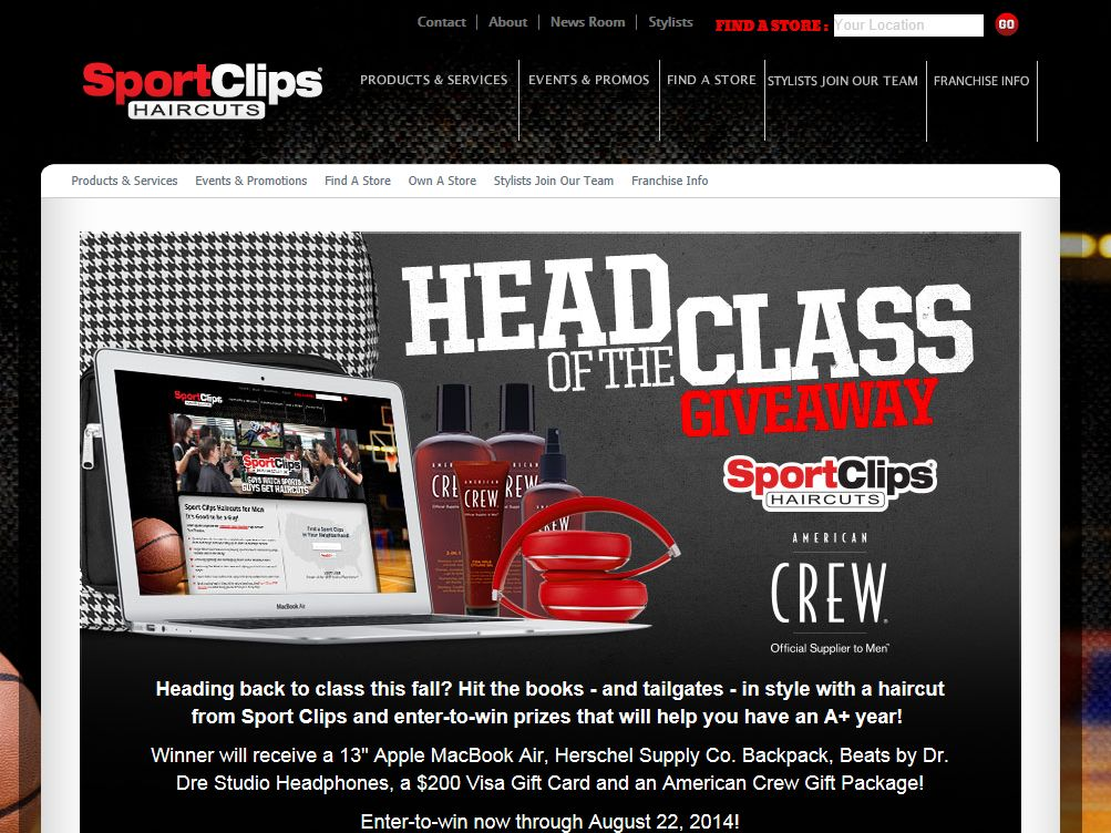 "Sport Clips ""HEAD OF THE CLASS"" Sweepstakes"