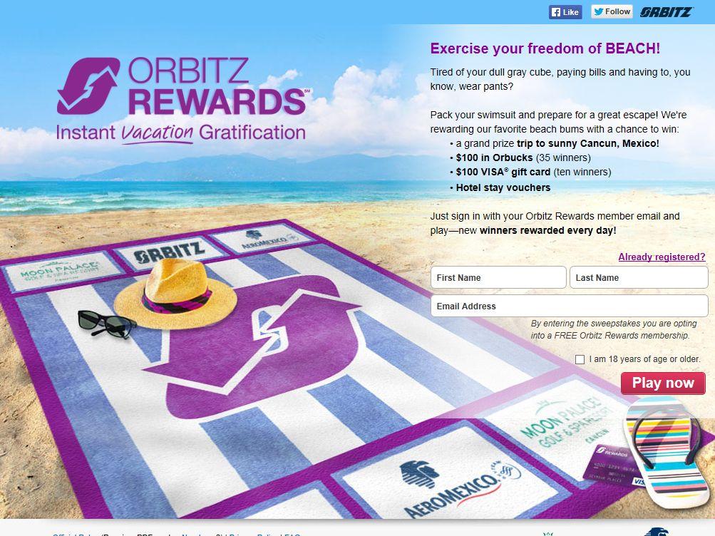 Orbitz Rewards July Instant Win Sweepstakes