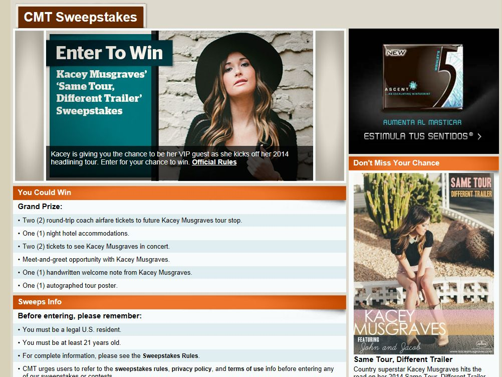 Kacey Musgraves' Same Tour Different Trailer Flyaway Sweepstakes