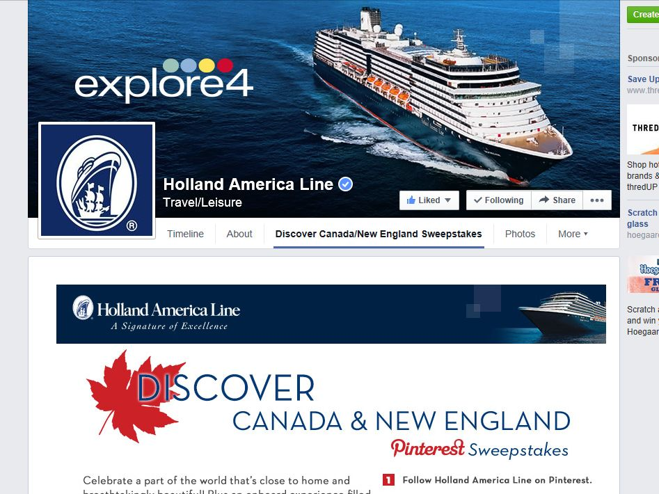 Holland America Line Pin To Win Canada/New England Sweepstakes