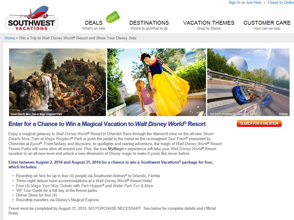 Southwest Vacations Magical Vacation to Walt Disney World Resort Sweepstakes