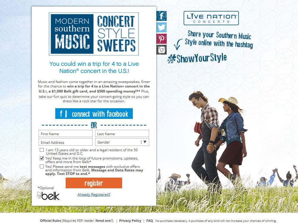 Belk Modern Southern Music Concert Style Sweepstakes