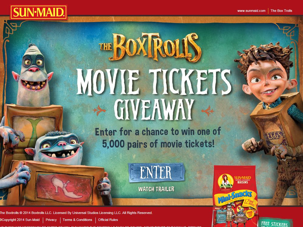 SUN-MAID'S The BoxTrolls Back-To-School Movie Ticket Giveaway