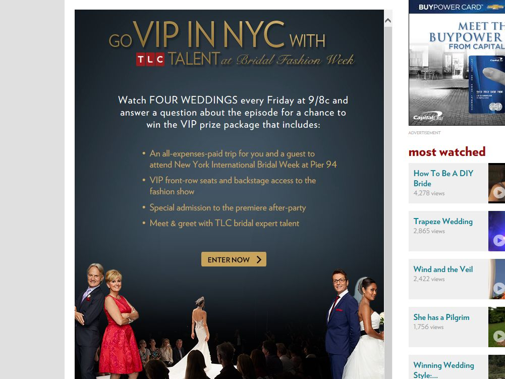 TLC's Four Weddings Go VIP with TLC at Bridal Fashion Week Sweepstakes