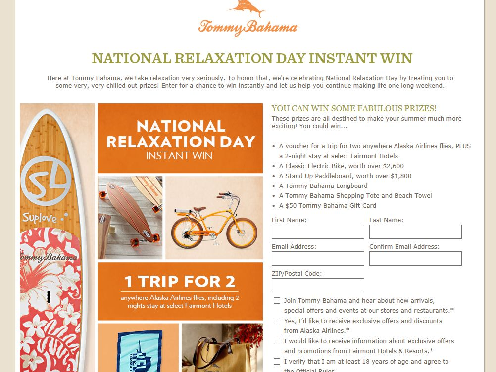 "Tommy Bahama's ""National Relaxation Day"" Instant Win Sweepstakes"
